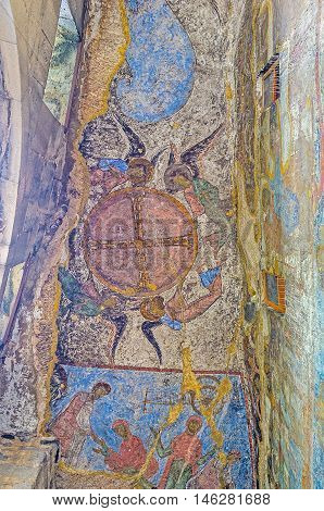 VARDZIA GEORGIA - MAY 27 2016: The old Monastic complex in Erusheti boasts the painted Dormition Church with colorful frescoes on the cave walls on May 27 in Vardzia.