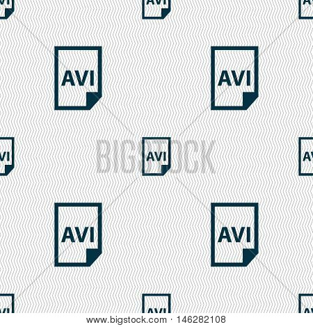Avi Icon Sign. Seamless Pattern With Geometric Texture. Vector