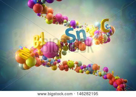 Abstrac 3D Rendering Illustration. Random Colored Spheres And Text With Vitamin Title On  Helix Form