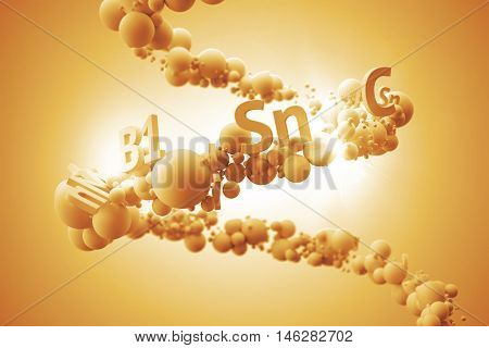 Abstrac 3d rendering illustration. Random colored spheres and text with vitamin title on  helix formed trajectory. Vitamin  and healthy concept.