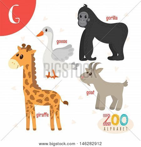Letter G. Cute Animals. Funny Cartoon Animals In Vector. Abc Book