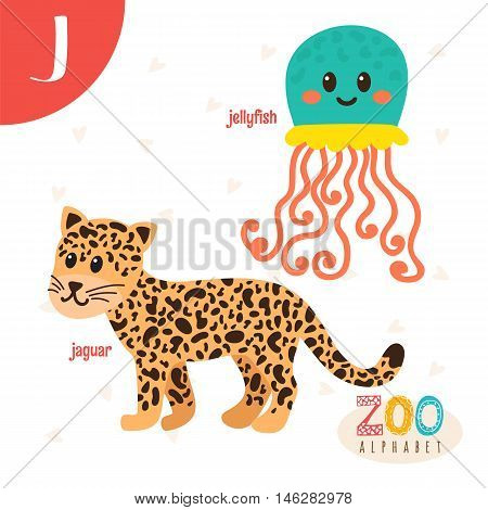 Letter J. Cute Animals. Funny Cartoon Animals In Vector. Abc Book
