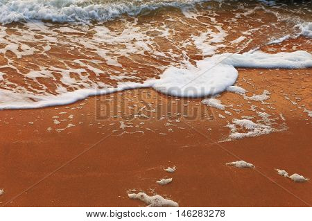 Golden sand beach and sea wave. A lot of space for text. Colorized image.