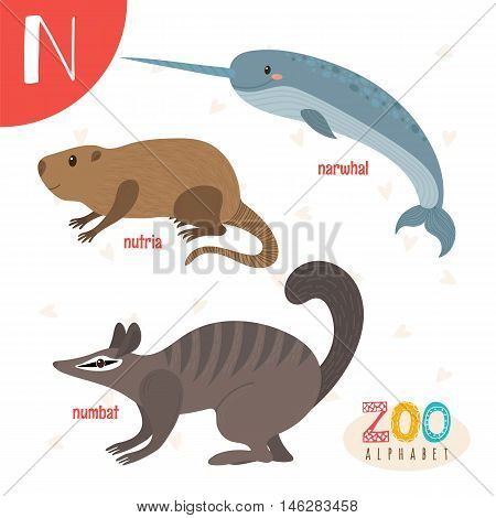 Letter N. Cute Animals. Funny Cartoon Animals In Vector. Abc Book