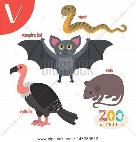 Letter V. Cute Animals. Funny Cartoon Animals In Vector. Abc Book