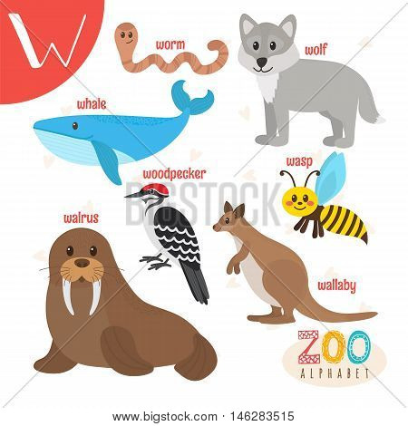 Letter W. Cute Animals. Funny Cartoon Animals In Vector. Abc Book