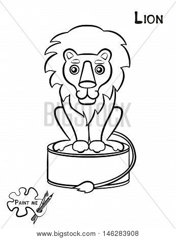 Children's coloring book that says Paint me. Lion