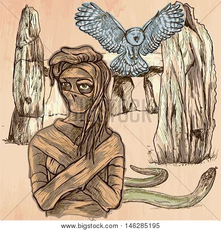 MUMMY. An mummy flying owl and snake in front of stone menhir and dolmen. Freehand sketching line drawing. An hand drawn vector illustration. Colored line art technique.