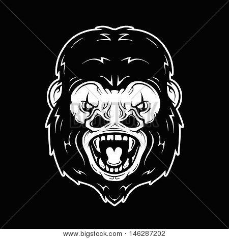 Angry scream gorilla monkey head vector illustration