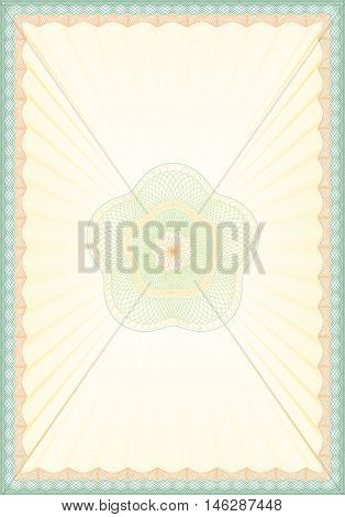 Vector Illustration of Empty Guilloche Certificate Background