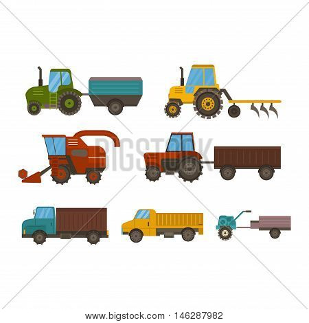Set of different types of agricultural vehicles and harvester machine, combines and excavators. Icon set agricultural harvester machine with accessories for plowing, mowing, planting and harvesting.