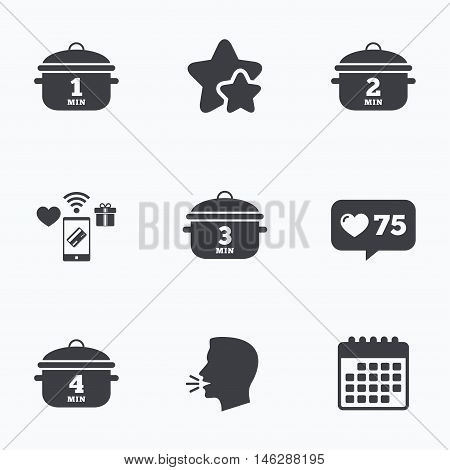 Cooking pan icons. Boil 1, 2, 3 and 4 minutes signs. Stew food symbol. Flat talking head, calendar icons. Stars, like counter icons. Vector