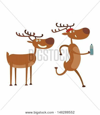 Cute deer cartoon comic wild vector character. Vector wild mammal cartoon deer humor mascot. Elk antler holiday symbol stag nature cartoon deer forest animal character.