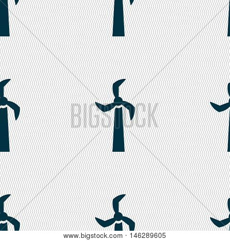Windmill Icon Sign. Seamless Pattern With Geometric Texture. Vector