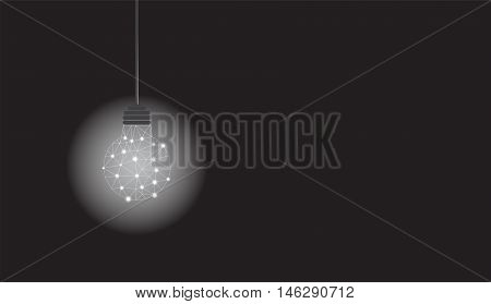 Hanging bulb with polygone structure glowing on black background. Vector illustration with copy space
