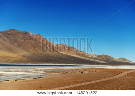road and altoandina lagoon located in the Salar de Atacama on the border between Chile and Argentina