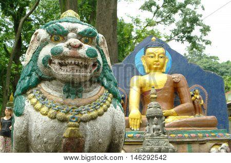 Statues in Swayambunath Temple in Kathmandu Nepal