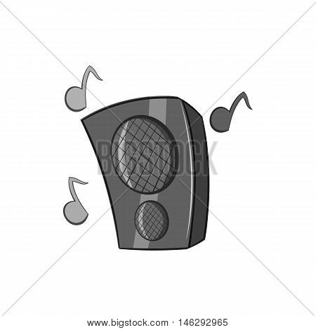 Music speacker icon in black monochrome style isolated on white background. Device symbol vector illustration