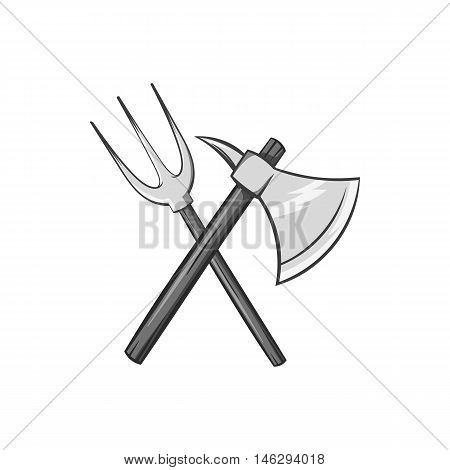 Axe and pitchfork icon in black monochrome style isolated on white background. Medieval weapon symbol vector illustration
