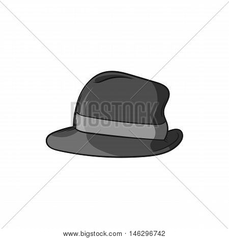 Mens hat icon in black monochrome style isolated on white background. Headdress symbol vector illustration