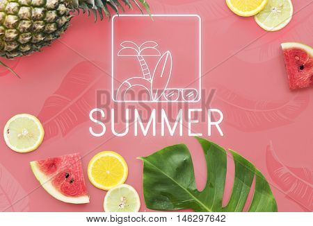 Summer Text Sunglasses Surfboard Palmtree Icon Concept
