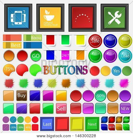 Synchronization , Restaurant , Star , Screwdriver , Wrench Icon. Big Set Buttons For Your Site. Vect