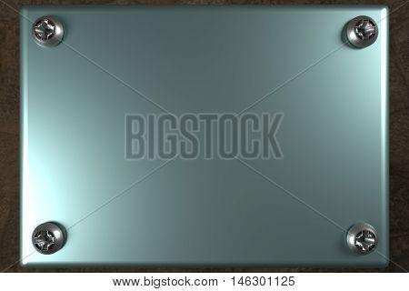 blank metal board with four steel silver screws, 3d rendering