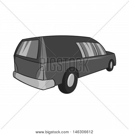 Hearse icon in black monochrome style isolated on white background. Transport symbol vector illustration