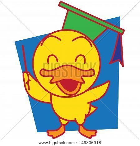 Teach duck vector art illustration TShirt design