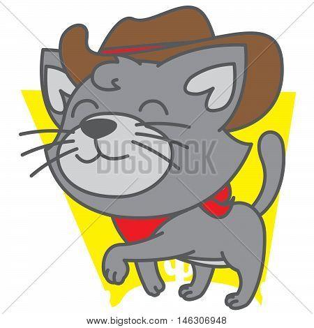 Cowboy cat vector art illustration TShirt design