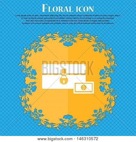 Chest Icon Icon. Floral Flat Design On A Blue Abstract Background With Place For Your Text. Vector