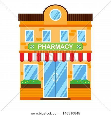 Vector illustration of retro building with pharmacy. Faсade of a retro house in flat style. Two storey town building with pharmacy.