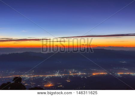 Layer of mountains under star at night Landscape at Doi Luang Chiang Dao High mountain in Chiang Mai Province Thailand