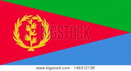 Flag of Eritrea in correct size proportions and colors. Accurate official standard dimensions. Eritrean national flag. African patriotic symbol banner element background. Vector illustration