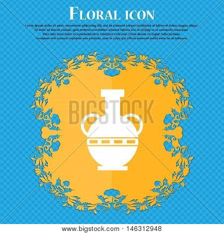 Amphora Icon Icon. Floral Flat Design On A Blue Abstract Background With Place For Your Text. Vector