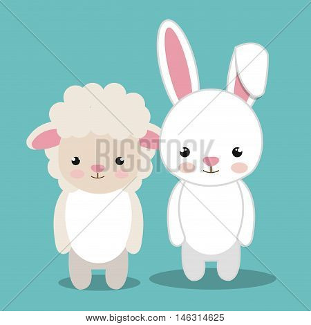 cartoon animal sheep rabbit plush stuffed design vector illustration eps 10