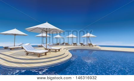 3D rendering image of daybed and umbrella on curve wooden terrace step floor sea view infinity swimming pooldepth of field picture