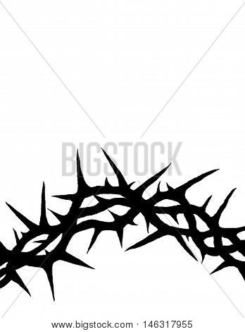 Crown of thorns of Jesus Christ hand painted with black ink on white background with copy space.