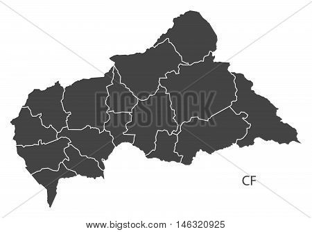 Central African Republic with regions isolated vector high res