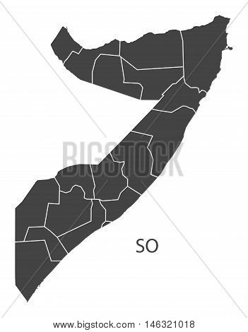 Somalia grey map with regions isolated vector high res