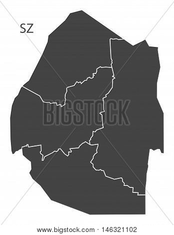 Swaziland grey map with regions isolated vector high res
