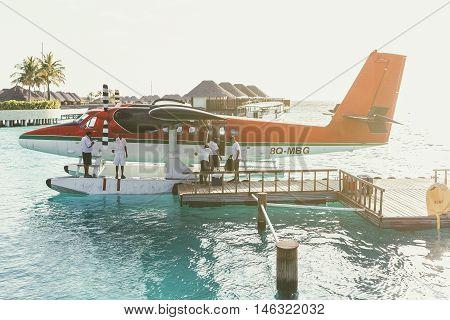 Fesdhoo Island Maldives - June 15 2015: Seaplane harbor of any Maldivian airways operating at W Retreat & Spa On Fesdhoo Island North Ari Atoll Maldives provides services to several island resorts
