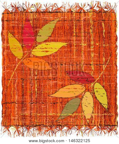 Colorful weave interlace plaid with embroidery of stylized leafs isolated on white