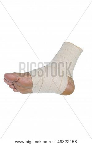 Foot injury Bandaged foot on a white background with clipping path