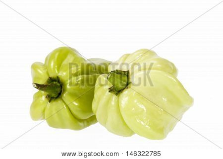 Vegetable of small green chili pepper habanero isolated on white background
