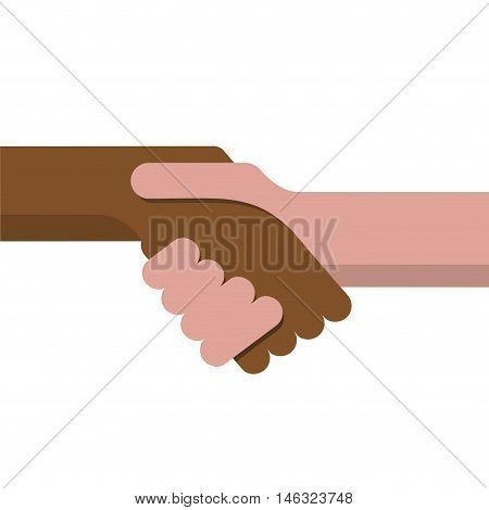 Vector sign handshake no apartheid. Flat design