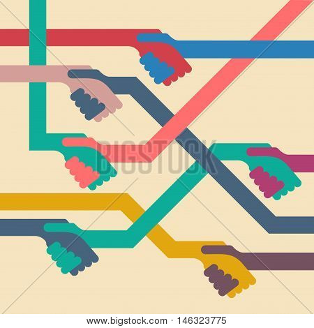 Vector abstract background handshake. Flat design illustration