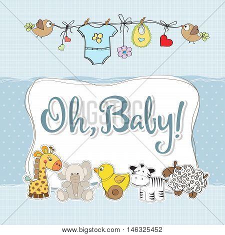 Baby Boy Shower Card With Animals