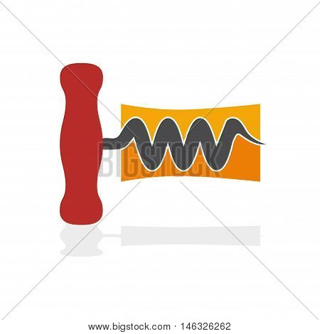 Vector sign wine and corkscrew, isolated illustration