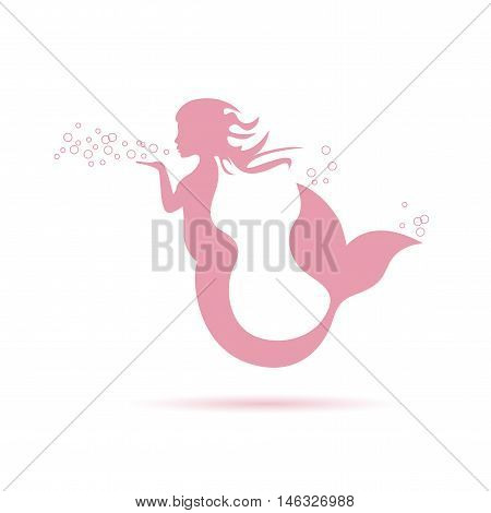 Vector sign pink mermaid blowing, isolated illustration